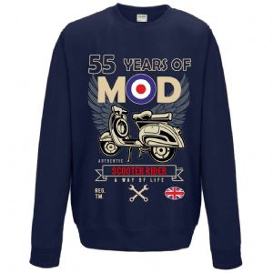 Premium Retro Birthday Anniversary 55 Years Of MOD Target Scooter Rider Old School Mens Navy Jumper